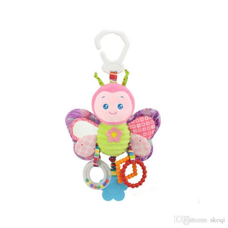 Nuevo lanzamiento Lindo mariposa conejo pato ave bebé niños cochecito cama alrededor de campana sonajero actividad suave juguete exterior bebé de peluche de juguete
