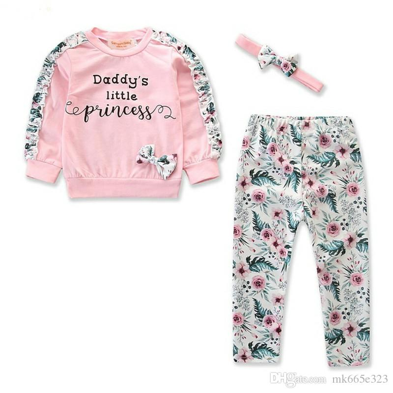 Baby Girls Clothes Toddler Fashion Pink Long sleeves Tops + Floral Pants With Headband 3-Pc Children Clothing Sets 3-36M