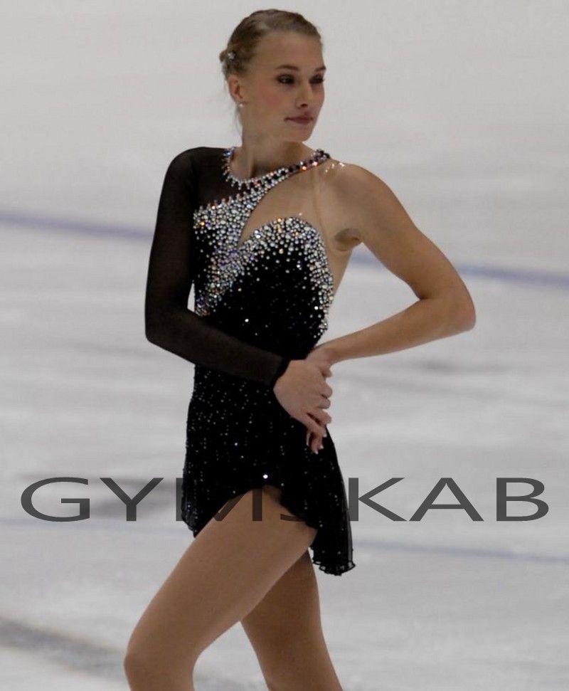 2018 elegante preto de mangas compridas vestido de patinação artística das mulheres da menina personalizado patinação no gelo vestido de ginástica traje 8954