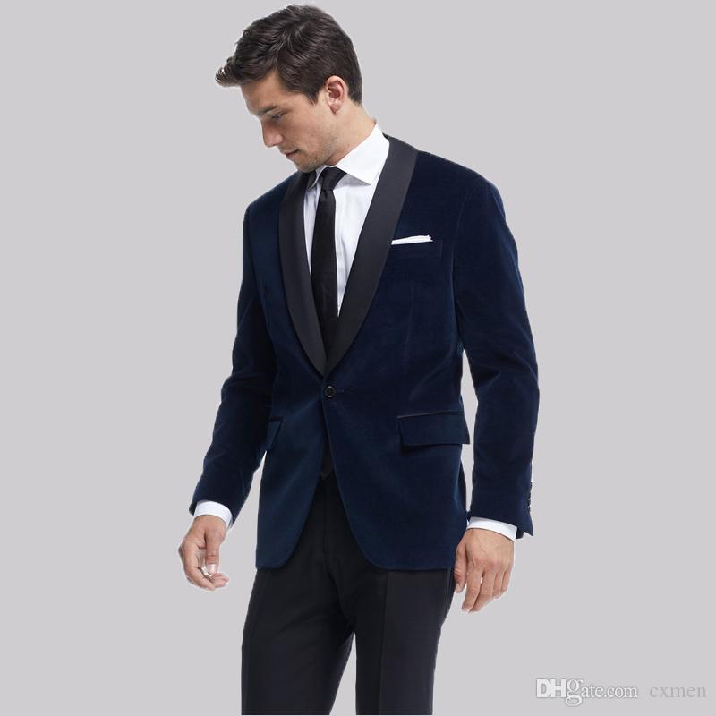 Smoking Jacket Royal Blue Velvet Men Suits for Wedding Satin Shawl Lapel Handsome Groom Tuxedos Slim Fit Male Blazers 2 Pieces Jacket+Pants