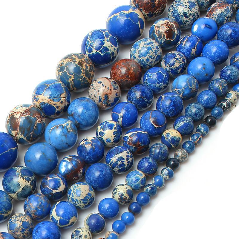 """8mm Natursteinperlen blau Seesediment runde lose Perlen für die Schmucksachen 15.5"""" Herstellung Größe 4 6 8 10 12 mm Großhandel Auswahl"""