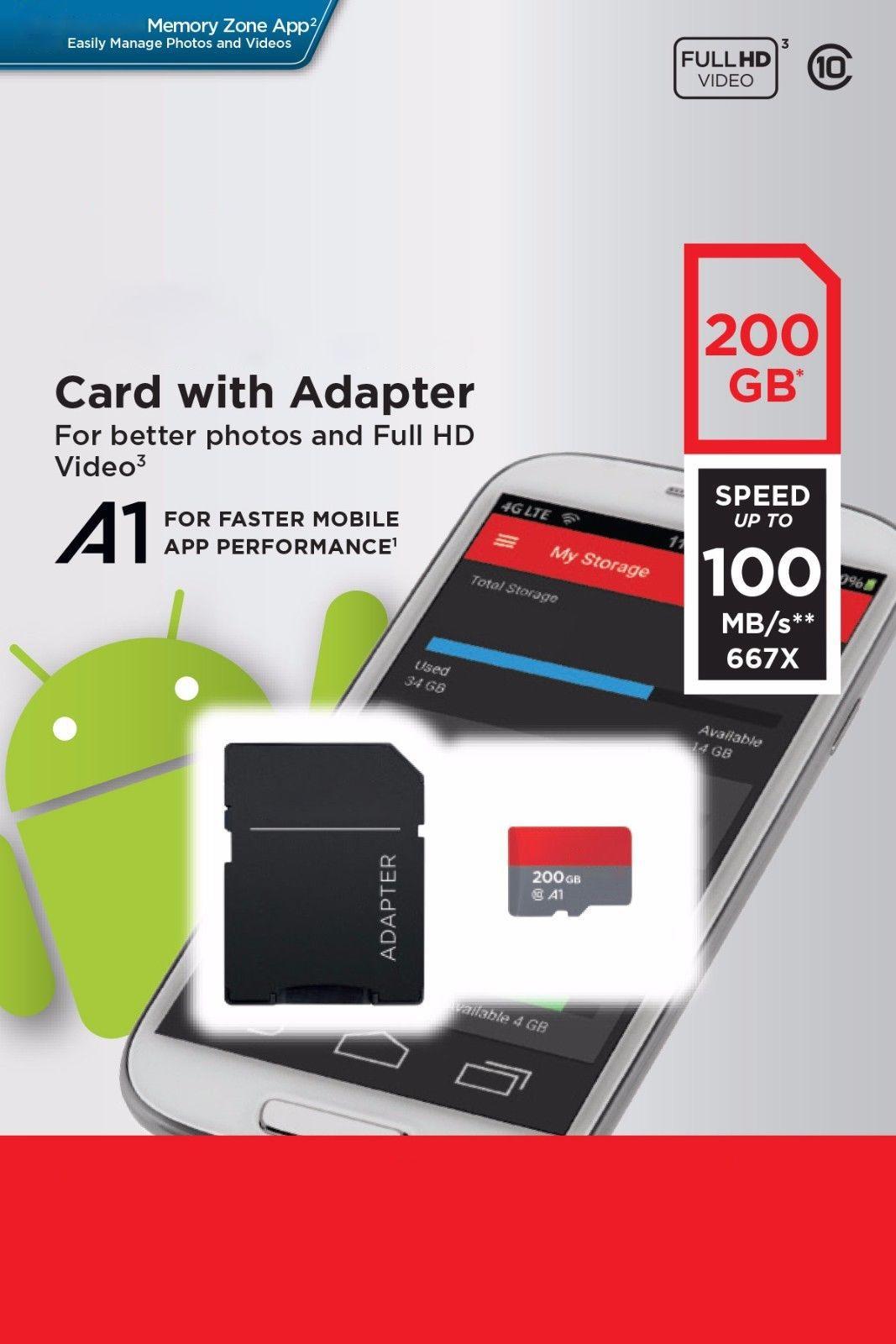 Scheda di memoria Micro SD Ultra A1 256 GB 200 GB 128 GB 64 GB 32 GB 98 MB / s 100 MB / s UHS-I C10 TF Card con adattatore