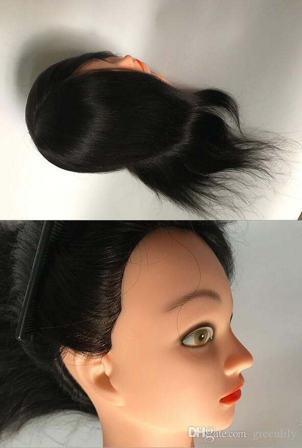 """A++++100% Human Hair Mannequin Head 14"""" 16"""" 18"""" Black/Blonde Great Quality Natural Black Color Hair Hairdressing Dolls Head For Beauty"""