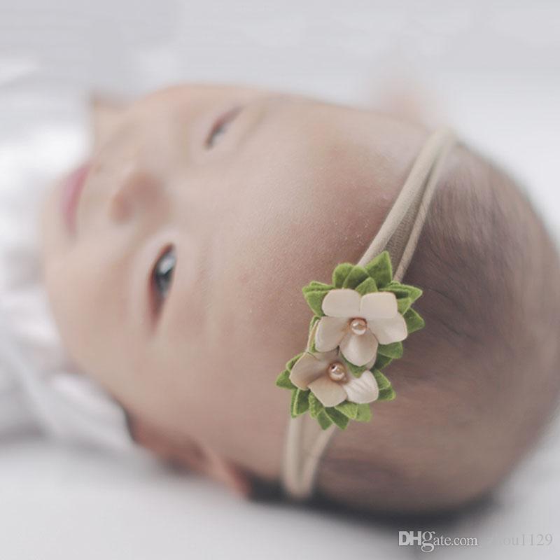 Mezcla estilo perla flor cinta encaje Hairband bebé niña diadema elástico Hai banda niños accesorios para el cabello envío gratis 2018 ventas calientes