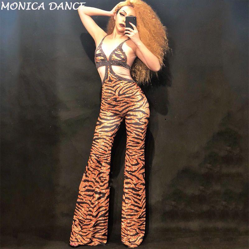 Strass Tiger Stripes Jumpsuit Grande Costume de scène d'une seule pièce Stretch Sexy Bodysuit femmes Imprimé cristaux Skinny de barboteuses