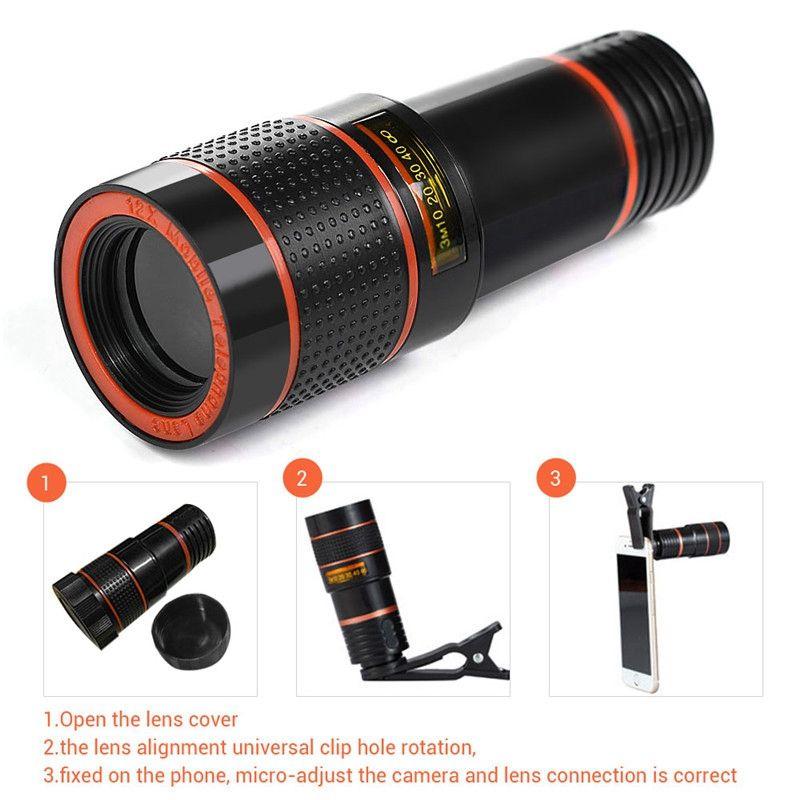 iPhone Samsung Huawei İçin Evrensel Klipleri HD Cep Telefonu Telefoto Objektif 12X Zoom Optik Teleskobu Kamera Lens