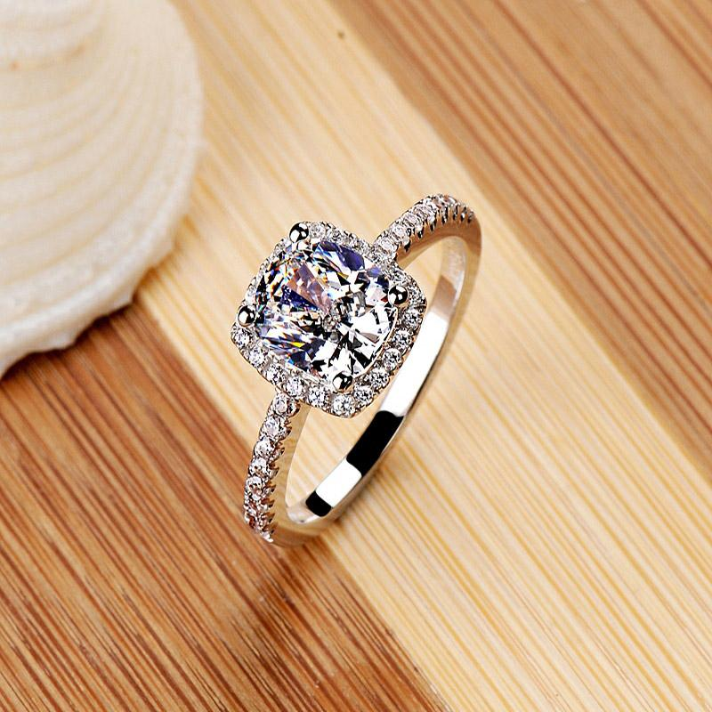 Fashion Show Elegant Temperament Jewelry Womens Girls White Silver Filled Wedding Ring Classic Vintage Ring for Women Free Shipping
