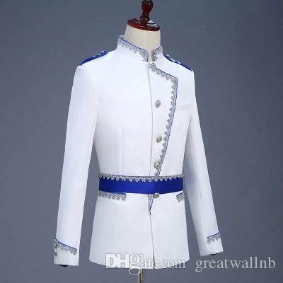 Freeship Mens weiß blau binden General Prince Cosplay Meadieval Vintage Jacke / Bar / Club / Studio / Bühne Performance Jacke