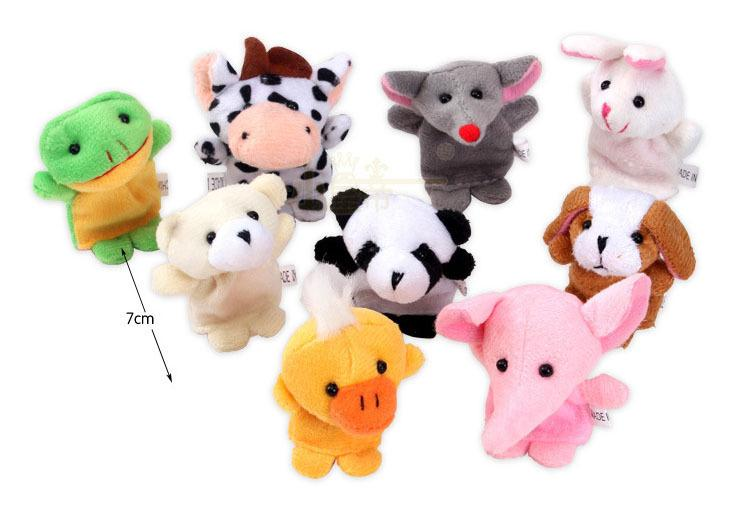 10Pcs Velvet Finger Animal Puppet Play Learn Story Toy Hot sale Cartoon Animal Finger Puppet Plush Toys Children Favor Dolls