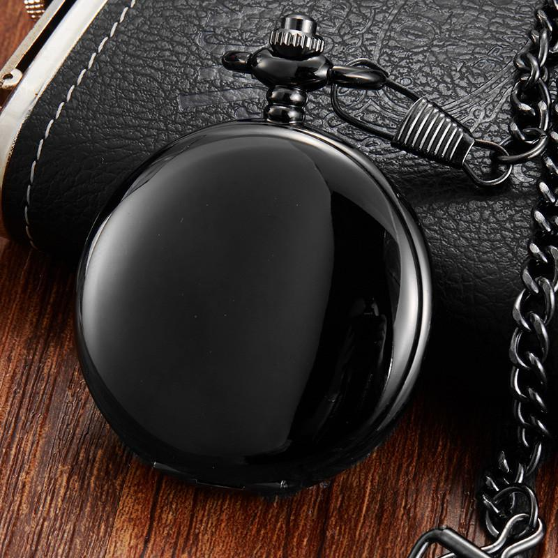 Retro Black Smooth Double Sided Mechanical Pocket Watch Men Women FOB Chain Unique Skeleton Dial Clock Pocket Watch relogio Gift