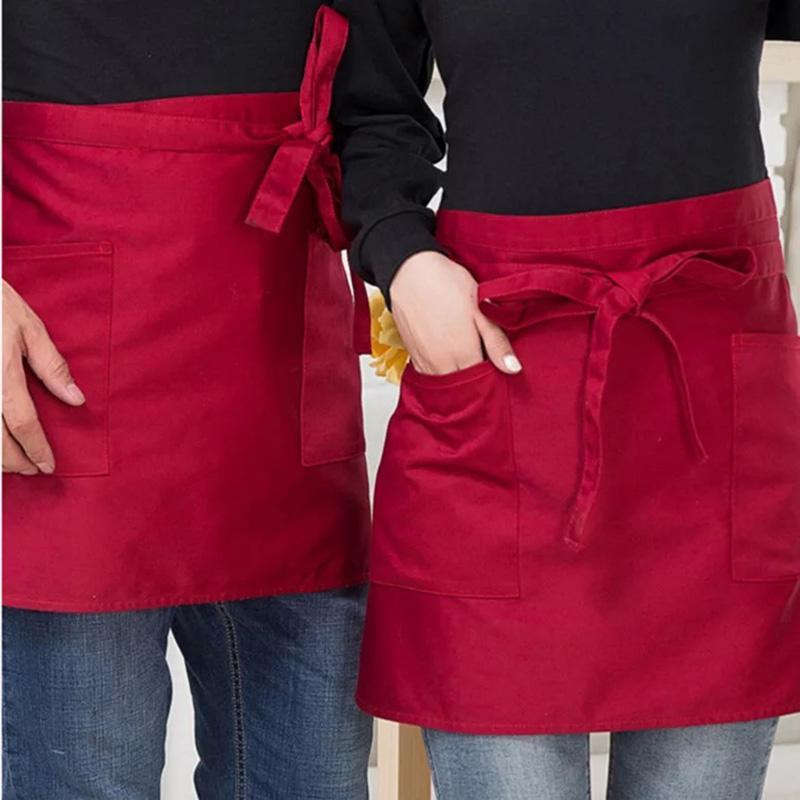 6 Style Universel Unisexe Demi Buste Bavoir Tablier Restaurant Cuisine Café Boutique Serveur Uniformes Taille Court Tablier avec Poches