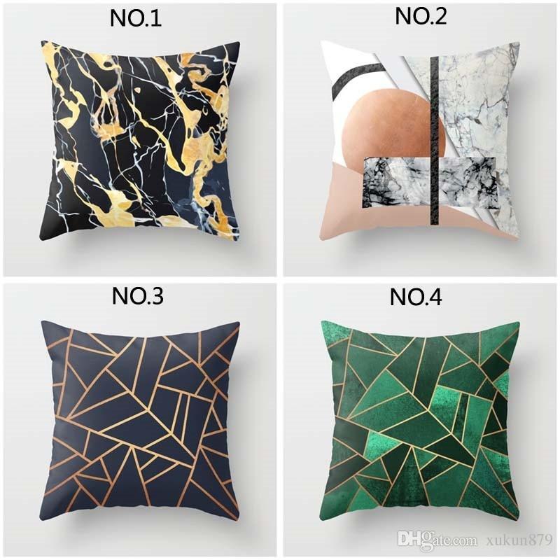 Faux Rose Gold Marble Geometric Pattern Throw Pillows Short Plush 45cm * 45cm Square Waist Throw Pillow Case Sofa Bed Car Cushion Cover Hom