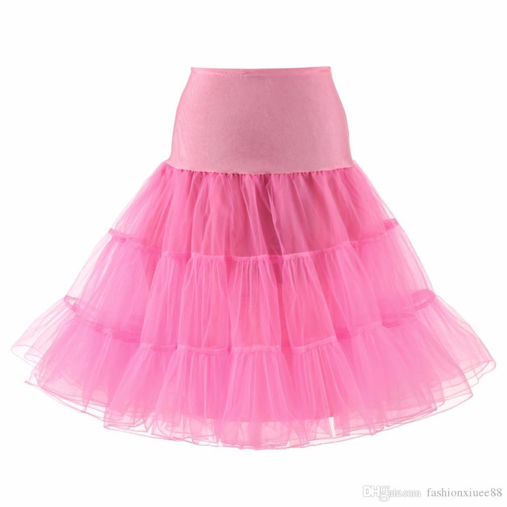 2018 una línea de falda corta Colorido corto Underskirt rodilla longitud nupcial Tul enaguas para el vestido de boda Venta caliente enagua