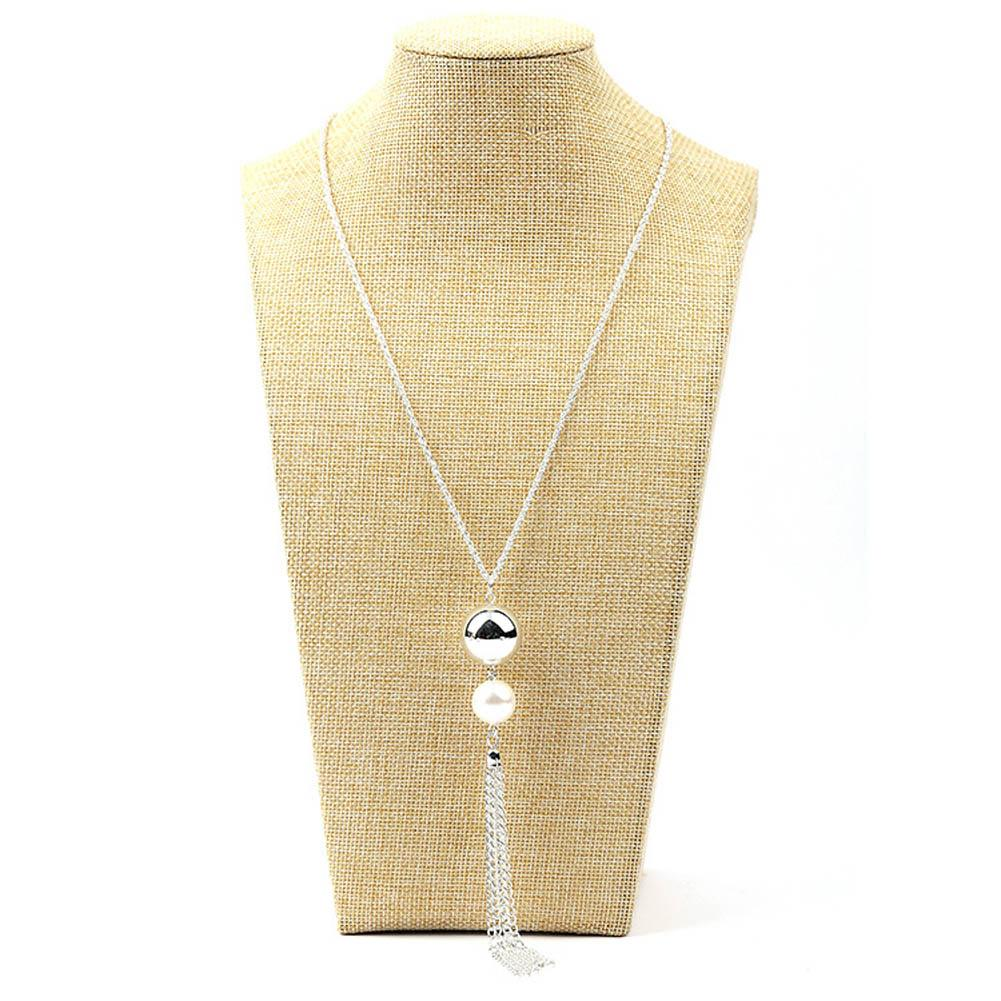 whole saleFashion Collares Imitation Pearl Beads Tassels Pendant Long Sweater Chain Necklace For Woman