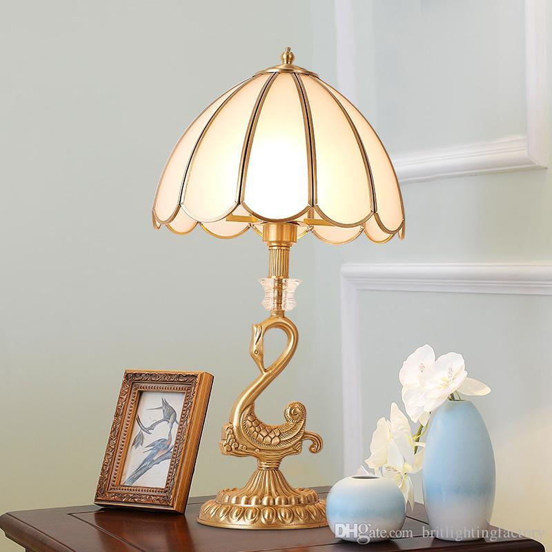 European copper table lamp Household bedroom Bedside glass lights dining room Wedding Vintage creative Lamp classic Crystal table lighting