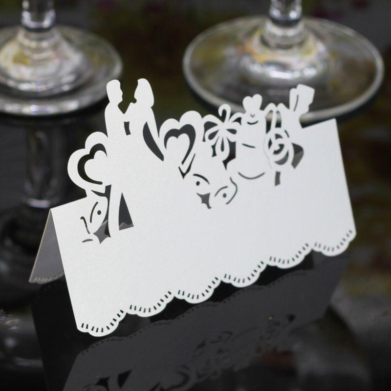 Laser Cut Place Cards Hohl Papier Namenskarte mit Liebhabern für Party Hochzeit Sitzgelegenheiten Hochzeit Tischdekoration PC2005