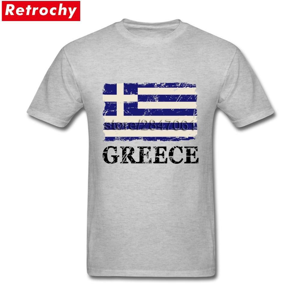 Basic Style رجالية تي شيرت اليونان العلم اليونان القطن بأكمام قصيرة طاقم الرقبة تي شيرت لصبي الملابس