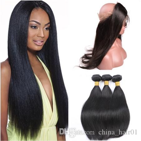 Pre Plucked 360 Full Lace Band Frontal Closure with 3Bundles Silky Straight Indian Virgin Human Hair Weft Weaves with 360 Frontals