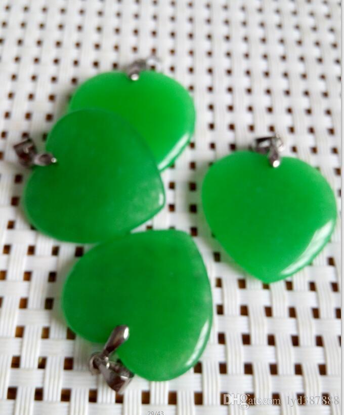 a buon mercato all'ingrosso giada verde smeraldo di cuore argento ciondolo collana B2 /