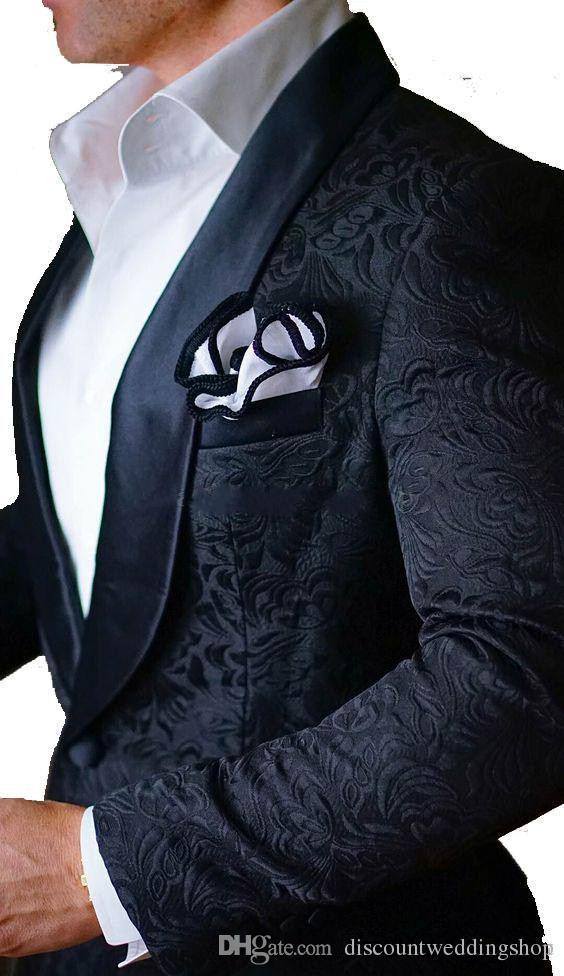 Smoking da sposo nero con scialle in paisley con un bottone di ultimo design Abiti da sposo da uomo (giacca + pantaloni + cravatta) K31