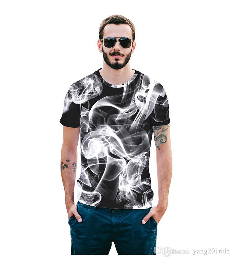 Nouvel été art smog manches courtes ras du cou mode loisirs T-shirt impression numérique lâche D8X05005