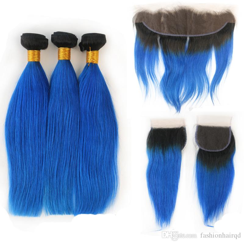 T1b Blue Ombre Human Hair Bundles With Frontal Closure Cheap Two Tone Straight Peruvian Virgin Hair Weaves With Lace Closure 4pcs Lot
