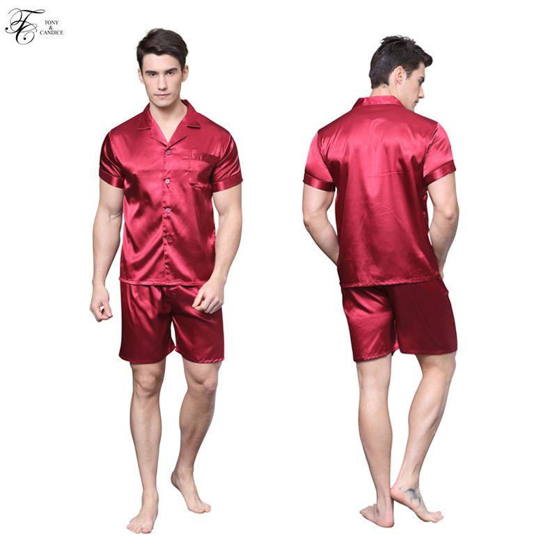 Оптовая торговля-Tonycandice мужские шелковые пижамы атласные пижамы с короткими рукавами пижамы летом мягкая ночная рубашка для мужчин пижамы повседневный стиль