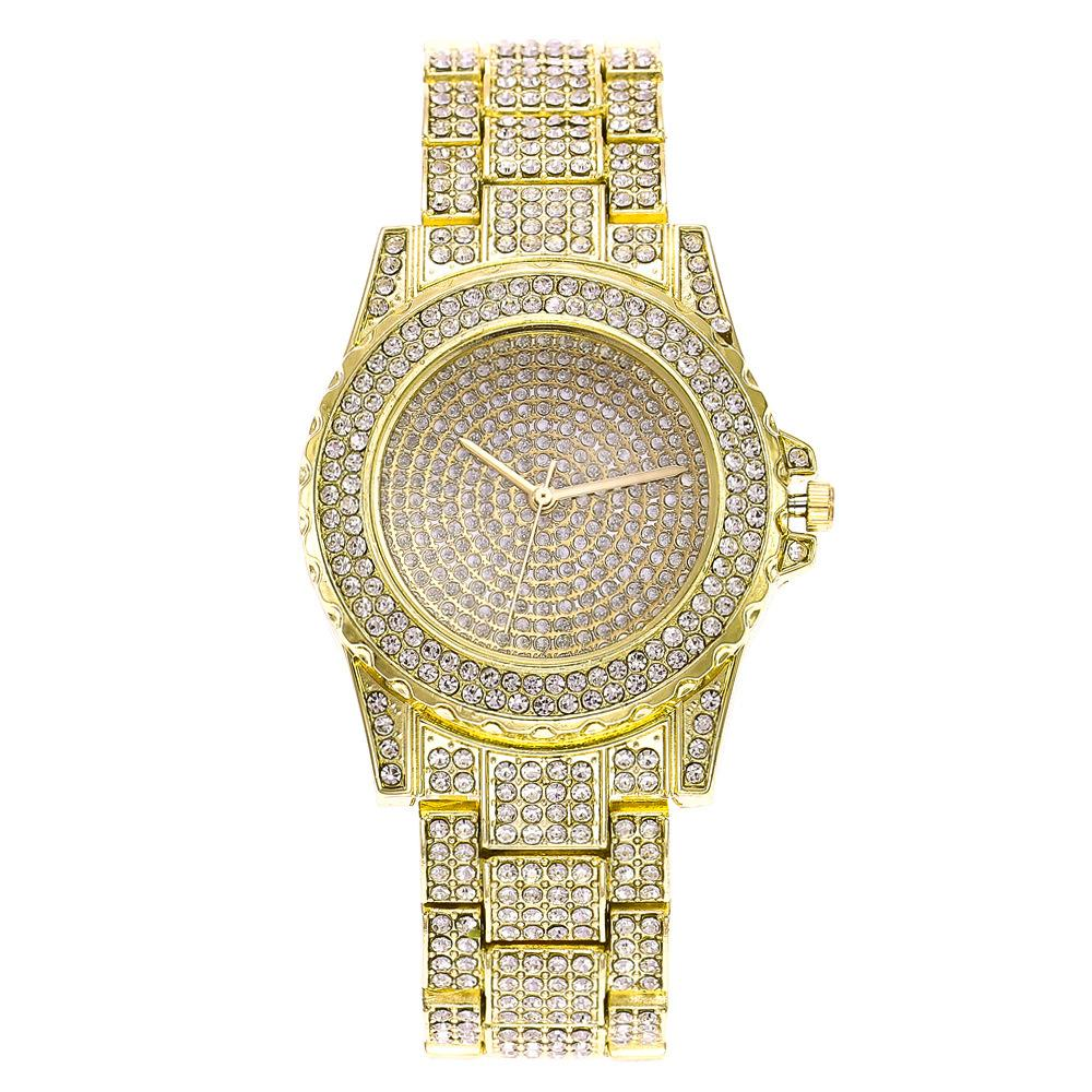 Reloj de correa de acero casual de la moda Reloj de señoras rhinestone estrellado Disparo de la calle hipster de Instagram