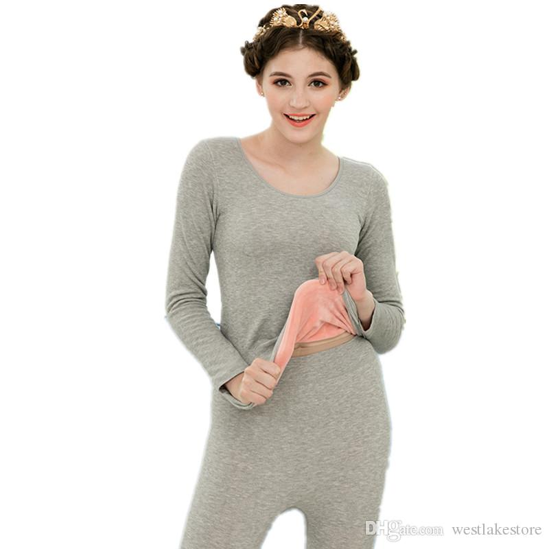 Brief Solid O-Neck Women's Thermal Underwear Bodycon Slim Seamless Long Johns Warm Suit Velvet Thick Winter Female Second Skin