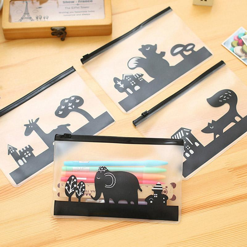 Netter Kawaii Tier-Bleistift-Kasten transparent gefrostet Bleistift-Beutel für Kind-Geschenk-koreanische Briefpapier