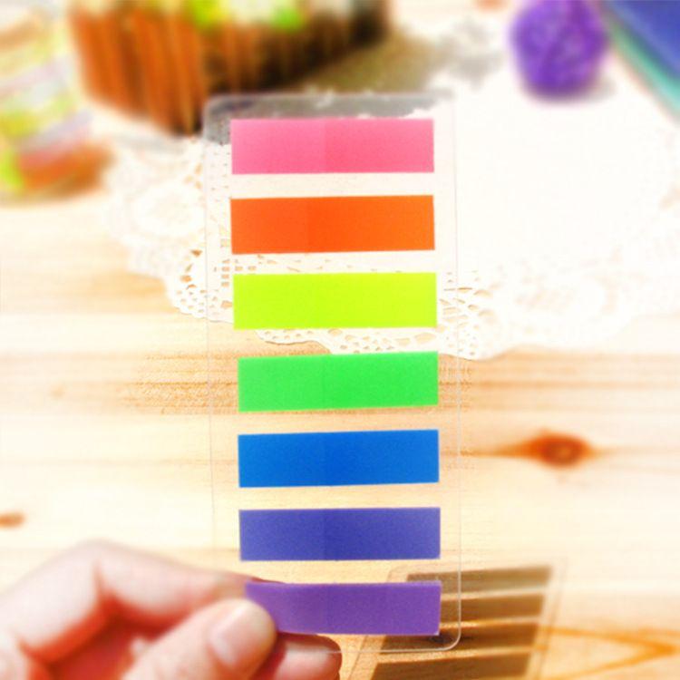 7 color sólido pegajoso Página marcador, surtidos Índice fluorescente marcadores 20-Pack