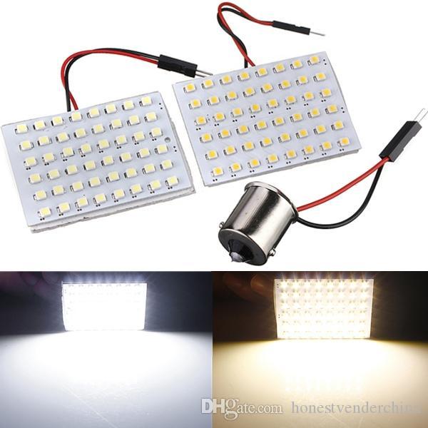 10X Venda Quente 48 SMD 1210 Painel LED Branco Fresco Quente Branco Auto Car Mapa Dome Luz com 1156 BA15S Adaptador DC12V