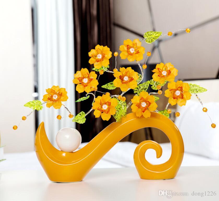 Minimalista ceramica acrilico creativo semplice moda fiori vaso home decor mestiere camera decorazione di nozze figurine di artigianato