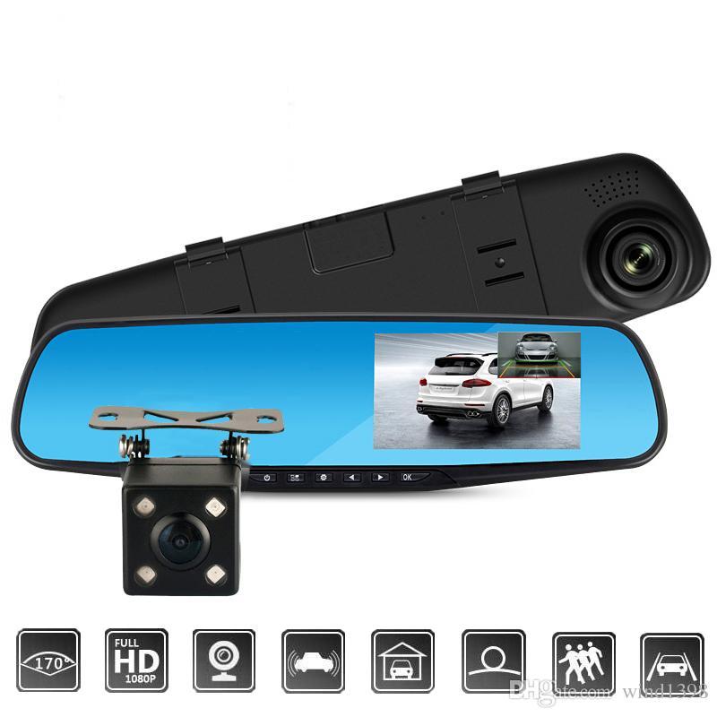 4,3-дюймовый автомобильный видеорегистратор Full HD 1080P Автоматическое зеркало заднего вида с видеорегистратором и камерой Авто рекордер Dashcam Автомобильные видеорегистраторы