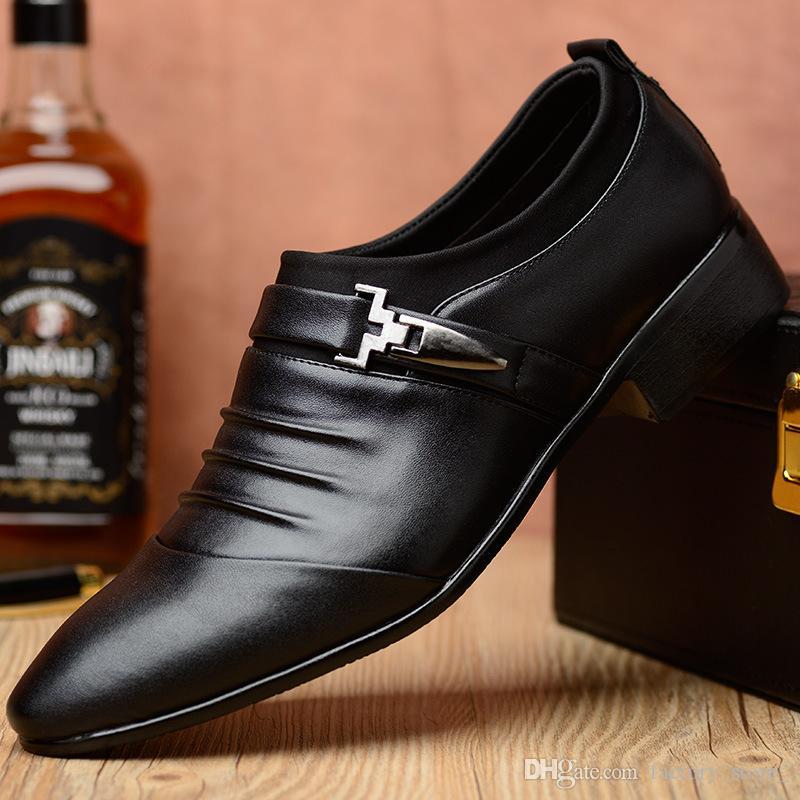 Herren Loafer Kleid Bürogeschäft Schuhleder spitze Schuhe Männer formales Leder Slip-Herren-Schuhe Große Größe here schoenen buty męskie