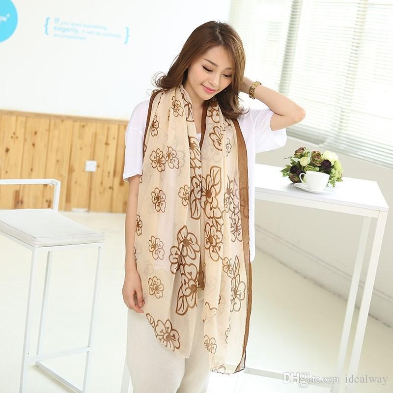 100٪ الحرير أزياء وصول جميل جديد الشهيرة زهرة طباعة القطن الكتان لينة طرحة طويلة شال 3 ألوان المرأة