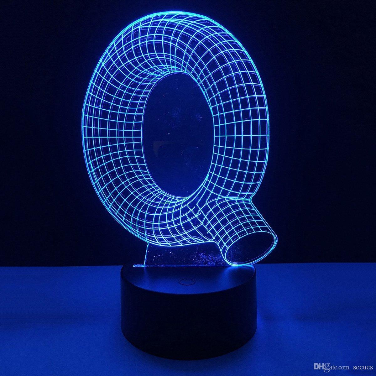 Q Shape 3D Illusion LED Lamp Letters Decoration Light DC 5V USB Powered 5th Battery Wholesale Free Shipping