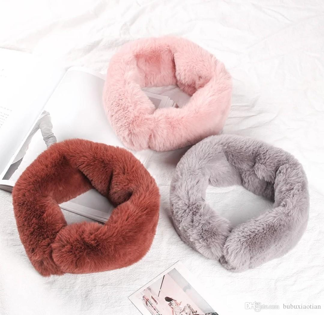 Neck Female Winter Day Department of Small Fresh Rex Rabbit Fur Pure Color Scarf Matching Temperament Thickening Warm Student Fur Collar