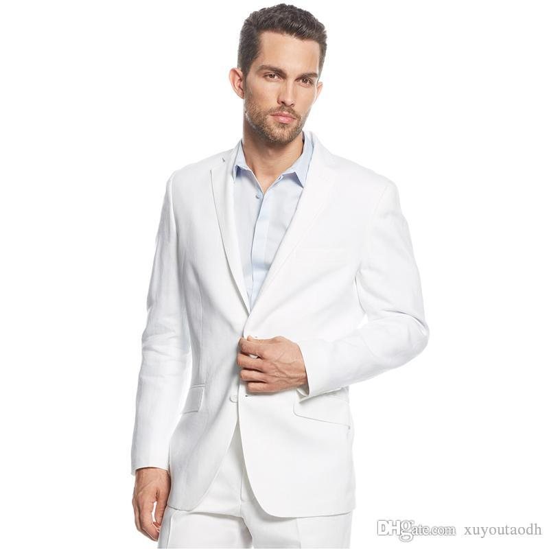 2018 Summer White Men Suits Custom Made Wedding Suits Bridegroom Tuxedos Prom Slim Fit Formal Best Man Blazer Party Evening Dress 2Piece