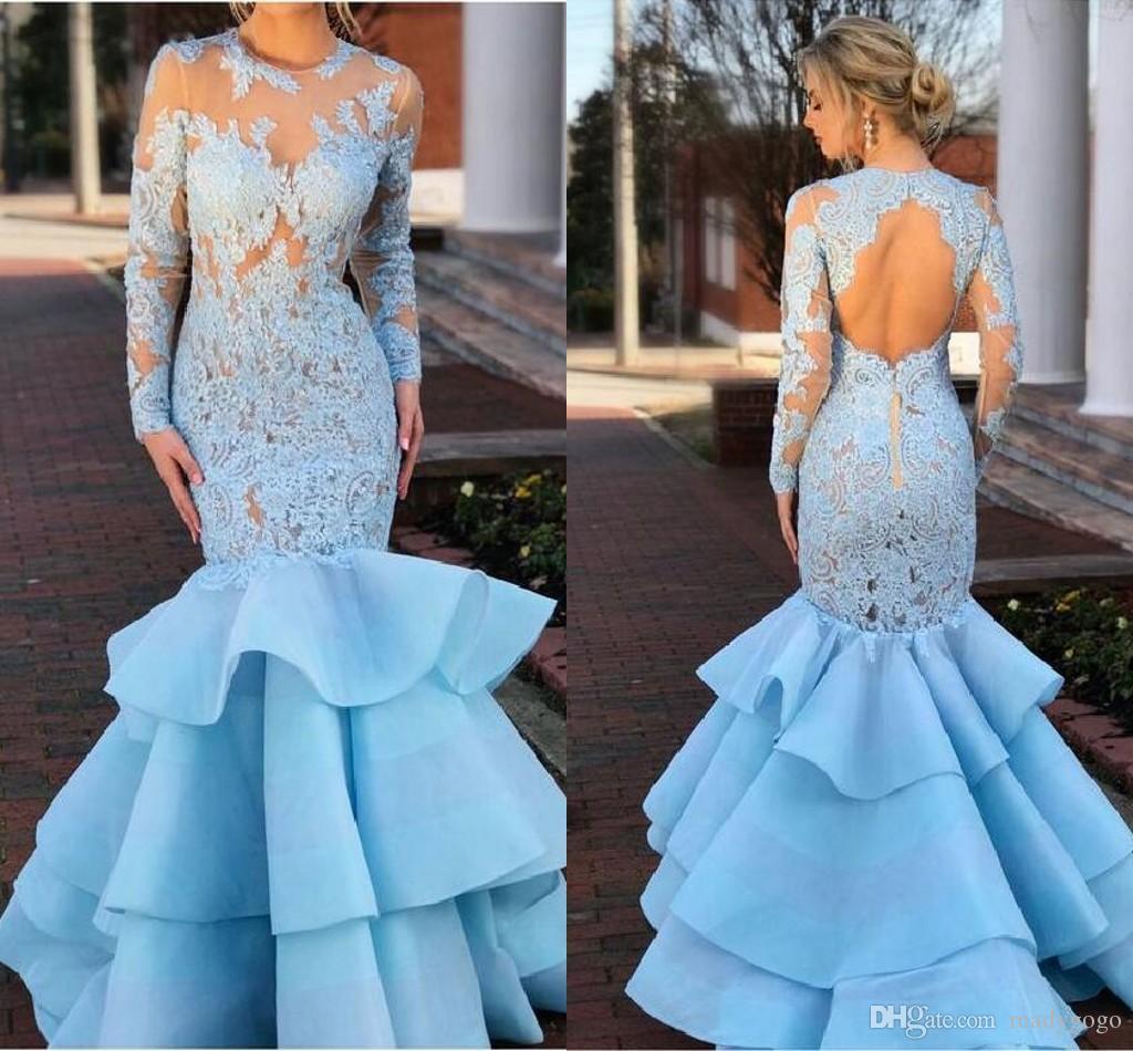 Light Sky Blue Lace Organza Mermaid Prom Dresses Wth Long Sleeve Modest Jewel Keyhole Back Fishtail Ruffles Skirt Evening Gowns