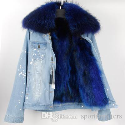 Veste de jean en jean pour femme à pois blancs avec col en fourrure de raton laveur détachable + manteaux épais en fourrure de raton laveur