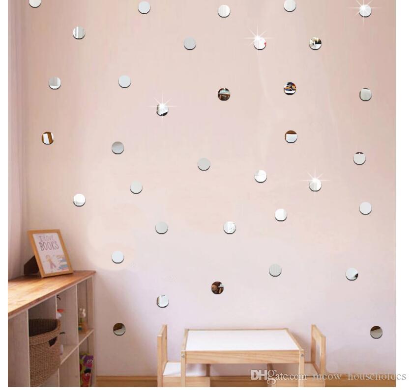 100 pz / lotto 2 cm 3d fai da te specchio acrilico wall sticker cuore / forma rotonda adesivi decalcomania mosaico effetto a specchio soggiorno decorazioni per la casa 7z