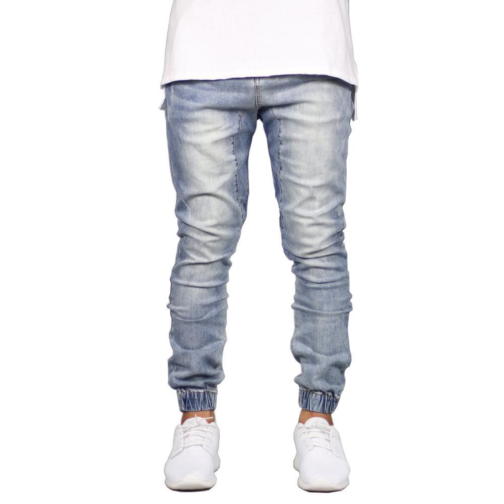 Мужчины хип-джоггер мода джинсы мужские джинсовые джинги джинсы хмель стрейч черные JCMPT