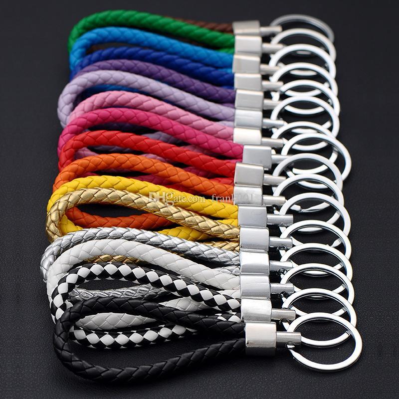 패션 가죽 핸드 메이드 로프 짠 금속 키는 열쇠 고리 남성들 여성들 홀더 키 커버 자동차 열쇠 고리 선물 반지