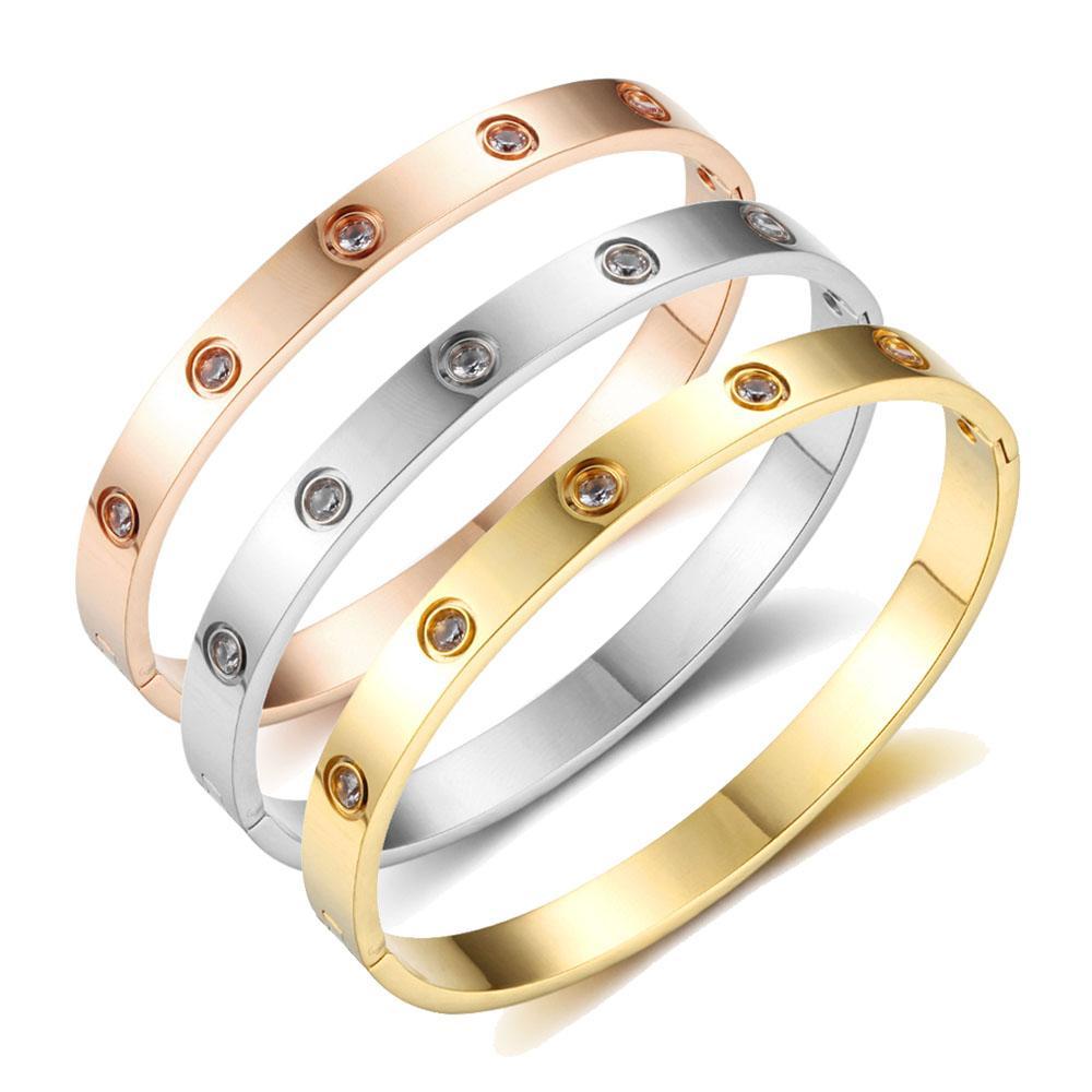 Amor Pulseiras Parafuso Pulseiras Para As Mulheres Pulseiras De Aço Inoxidável Pulseiras de Cristal De Ouro Cor Mulheres Presente Da Jóia
