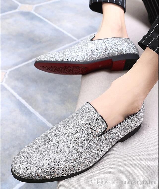 e5c5b7aef8c4 ... 2018 Hot Style Gold Mens Loafers Casual Fashion Nightclub Bars Party  Superstar Shoes Slip-on ...