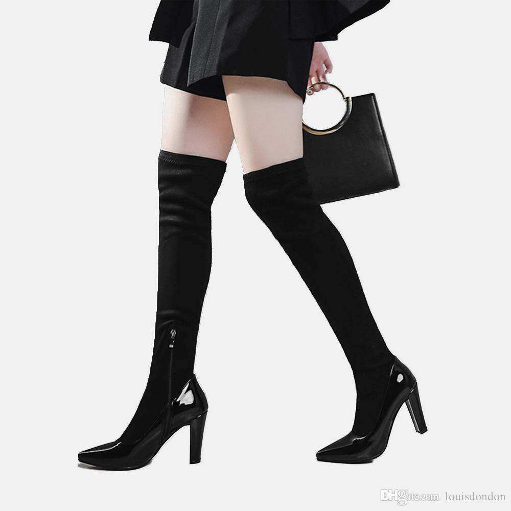 patent leather boots for women 2018 winter new fashion super high stiletto heels knee high long black suede shaft for party commuter
