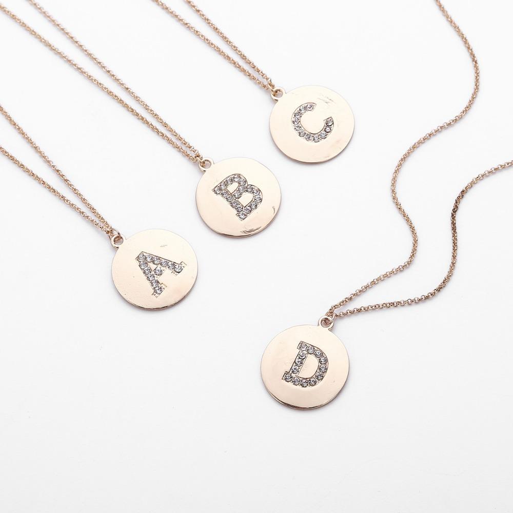 Silber Gold Farbe Kristall 26 Buchstaben Anfangs Halskette Disc Halskette Alphabet Frauen Kolye Collier Freunde Familie Brief