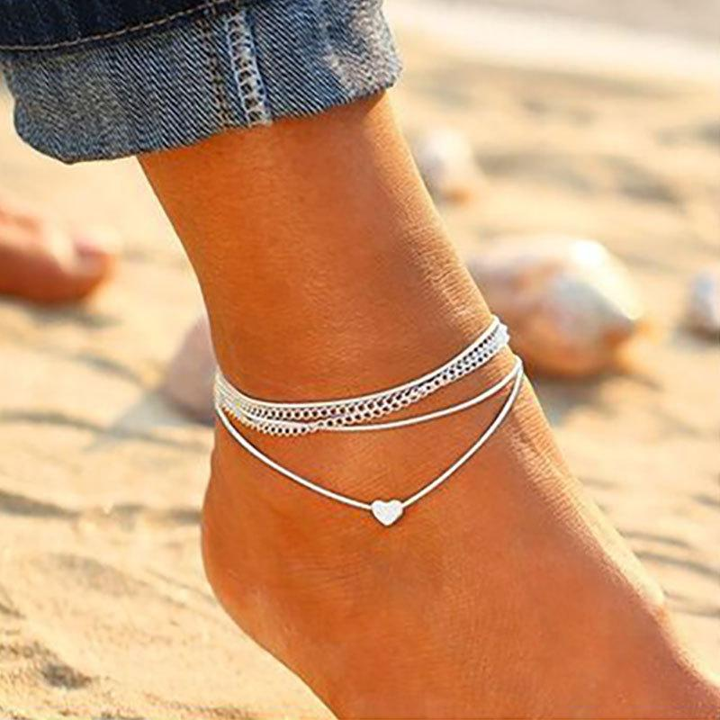 Hot sale multilayer beach heart shape anklets alloy chain silver plated rope chain bohemia style body foot jewelry anklets for women
