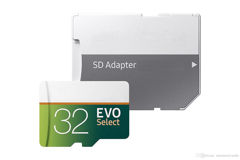 2018 핫 그레이 그린 EVO 셀렉트 80MB / S 90MB / S 64GB 128GB C10 TF 플래시 카드 클래스 10 무료 어댑터 소매 블리스 터 포장